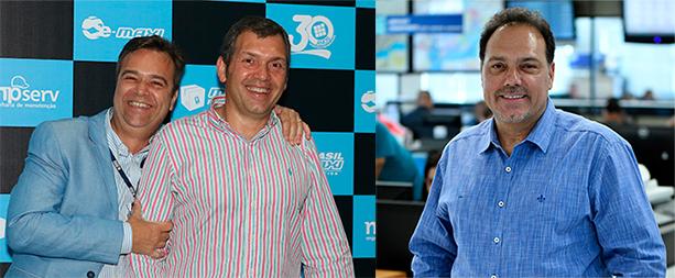 Marcelo e Claudio Cunha, na festa de 30 anos da Brasilmaxi, e Fausto Cunha, diretor Comercial da empresa